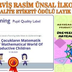 Hacı Derviş Rasim Ünsal İlkokulu'na Kalite Ödülü